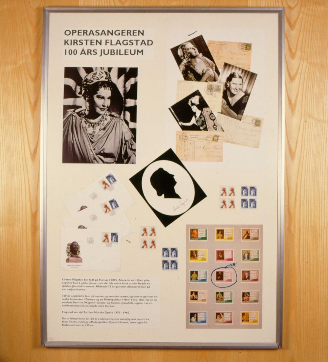 postmuseet, Kirkegata 20, utstilling, frimerker, NK 1232, NK 1233, Kirsten Flagstad 100 år, 26. juni 1995
