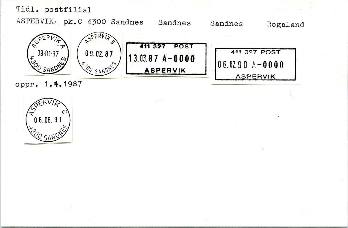 Stempelkatalog, Tidl.postfilial. Aspervik postkontor C. 4300 Sandnes. Sandnes. Sandnes kommune. Rogaland.