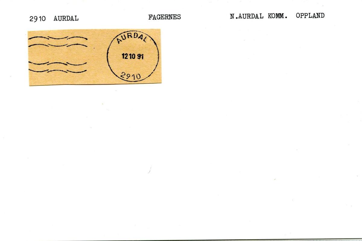 Stempelkatalog, 2910 Aurdal poståpneri. Fagernes postkontor. Nord-Aurdal kommune. Oppland.