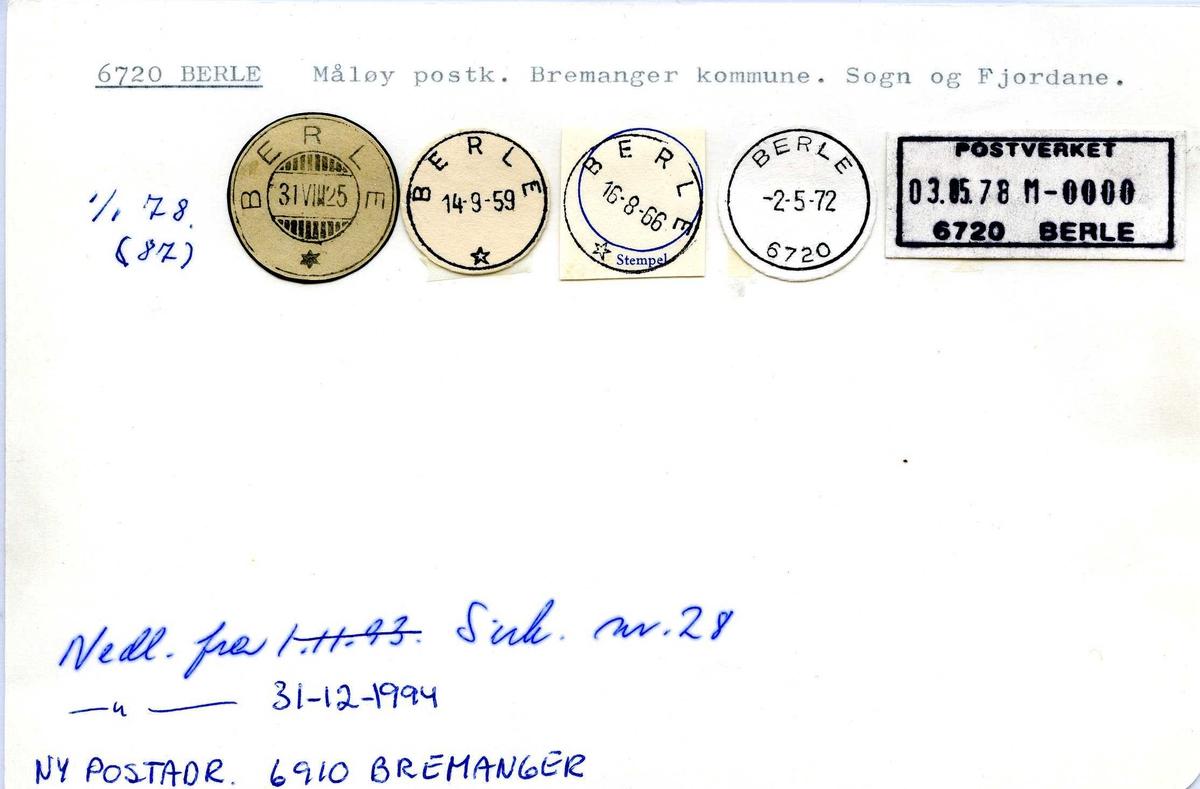 Stempelkatalog, 6720 Berle, Måløy, Bremanger, Sogn og Fjordane