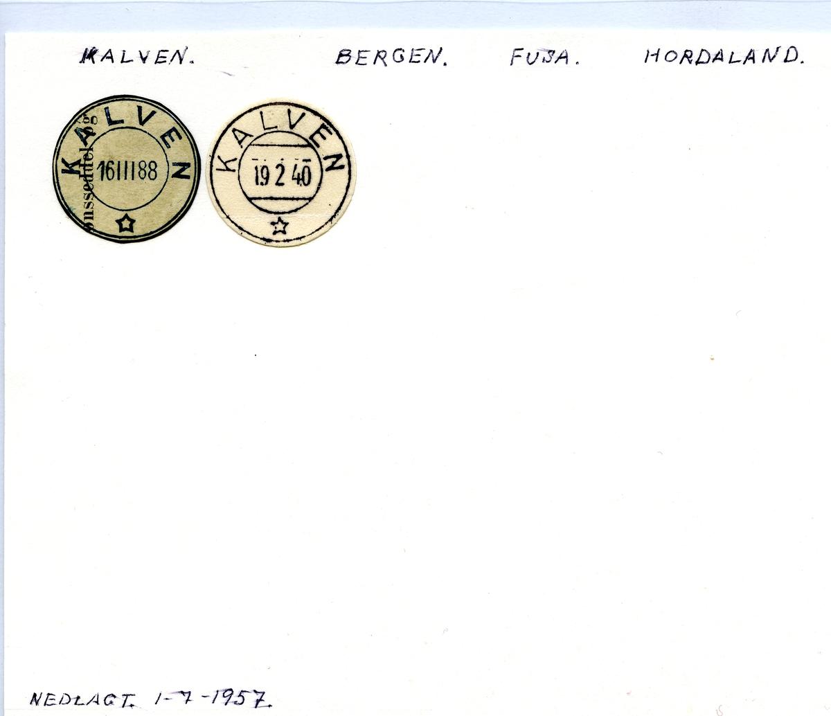Stempelkatalog.Kalven, Bergen, Fusa kommune, Hordaland
