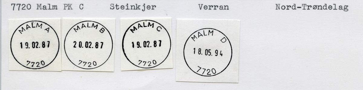 Stempelkatalog,  7720 Malm, Verran, Nord-Trøndelag