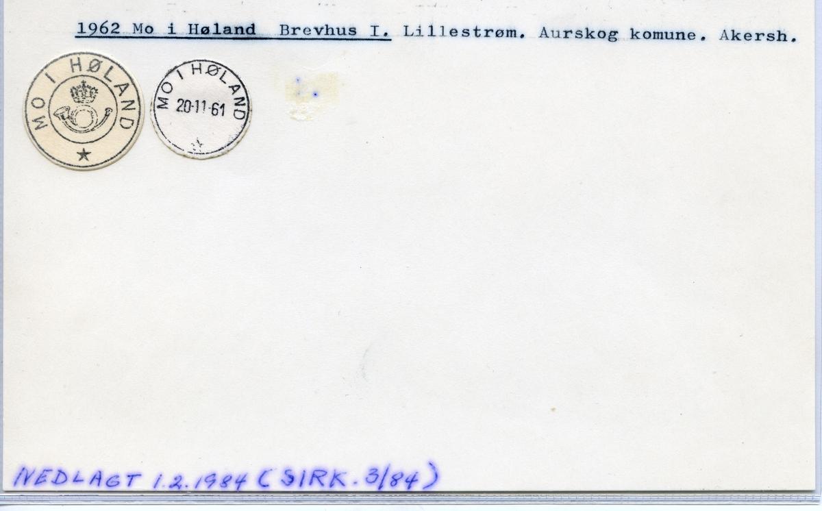 Stempelkatalog  1962 Mo i Høland, Aurskog kommune, Akershus