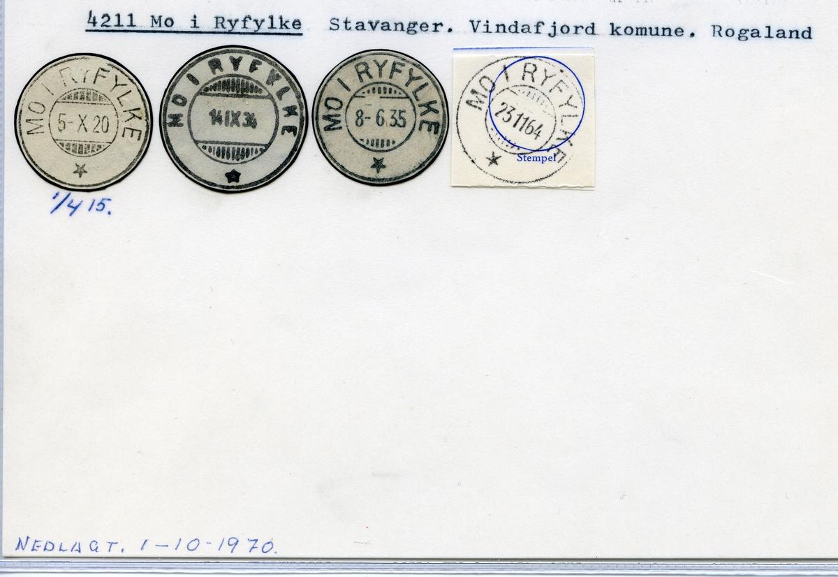 Stempelkatalog  4211 Mo i Ryfylke, Vindafjord kommune, Rogaland
