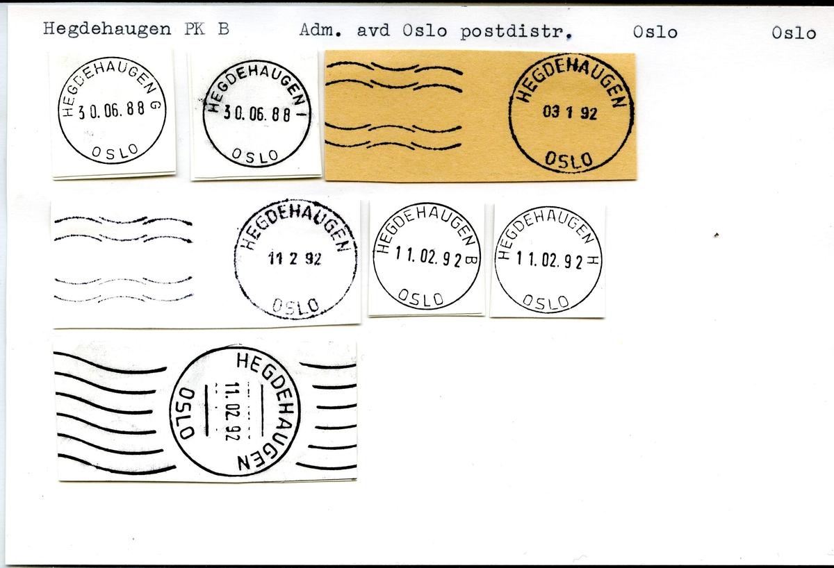 Stempelkatalog. Hegdehaugen, Adm.avd. Oslo postdistr., Oslo