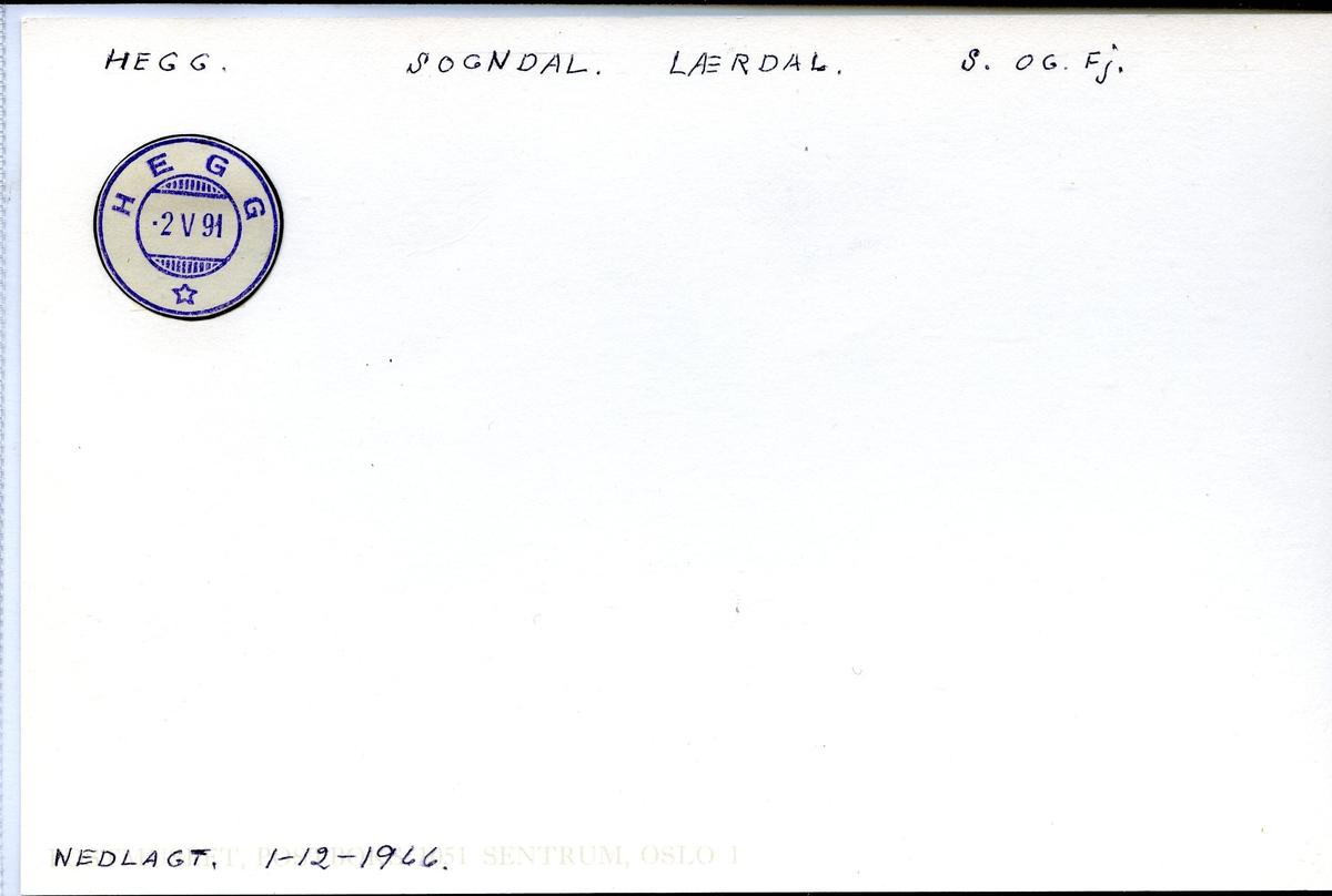 Stempelkatalog. Hegg, Sogndal, Lærdal kommune, Sogn og Fjordane