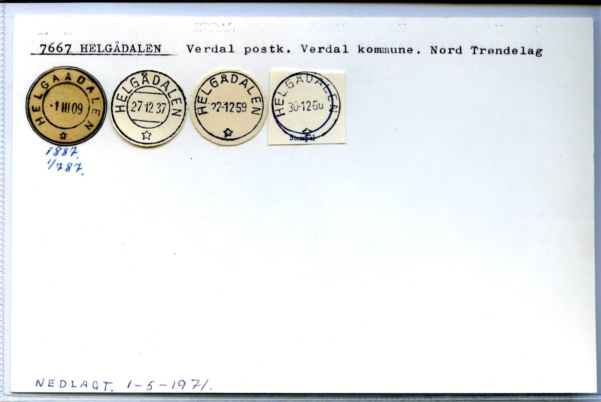 Stempelkatalog. 7667 Helgådalen. Verdal postkontor. Verdal kommune. Nord-Trøndalg fylke. Nedlagt 01.08.1971.