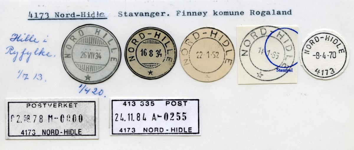 Stempelkatalog  4173 Nord-Hidle (Nord Hille, Nord-Hille), Stavanger, Finnøy, Rogaland