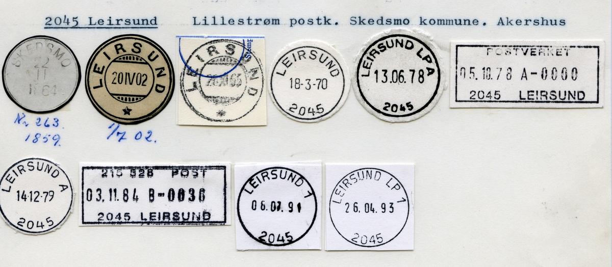 Stempelkatalog 2045 Leirsund (Skedsmo), Lillestrøm, Skedsmo, Akershus