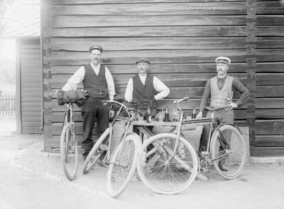 Kort: 04.07.1909. Sel, Otta. Gartner M. Skurdal med følge på tur til Galdhøpiggen. Gruppebilde, menn med sykler rundt et bord med drikkevarer.