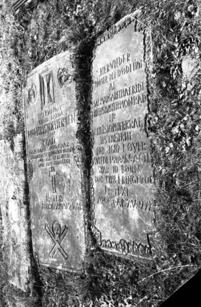 Ringebu. Gravsteiner ved Ringebu stavkirke.