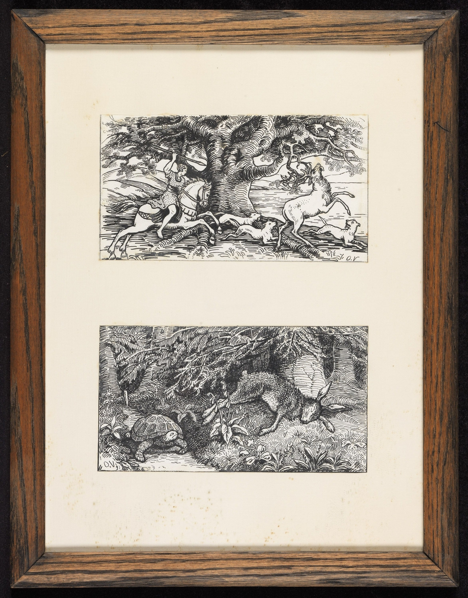 1) Ned. skilpadde, sovende hund, skog; 2) Øv.hest m. rytter m. spyd, hunder, hjort.
