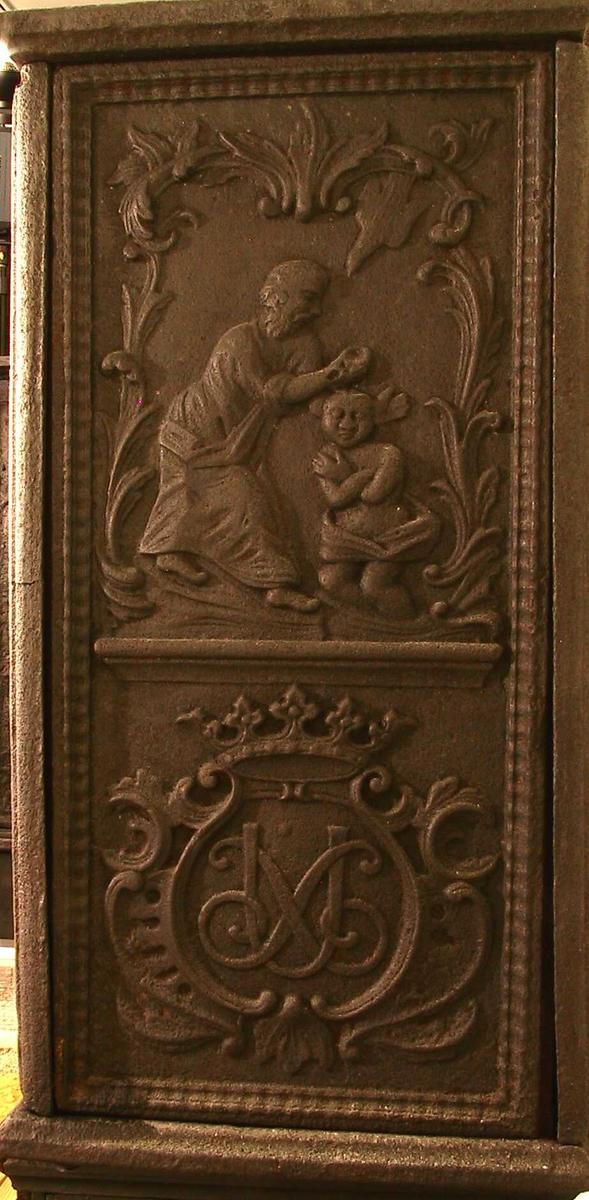 Kammersvenden af Morland,  Ks. Jesu dåp innrammet, med Ulrich Schnells kronede speilmonogram under.