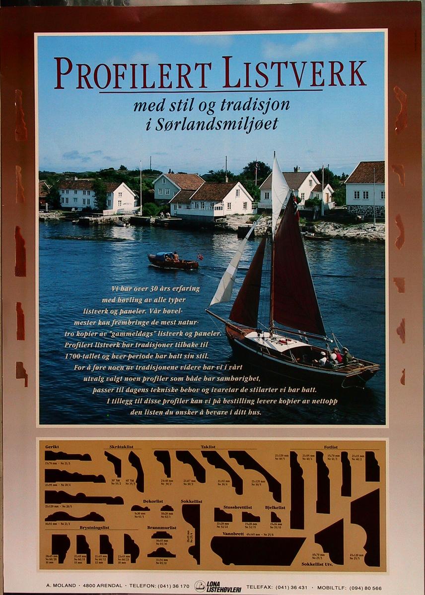 Sørlandsnatur med gammel verneverdig bebyggelse ved Havsøysund ved Arendal i øvre del av plakaten, ulike listprofiler i nedre del.