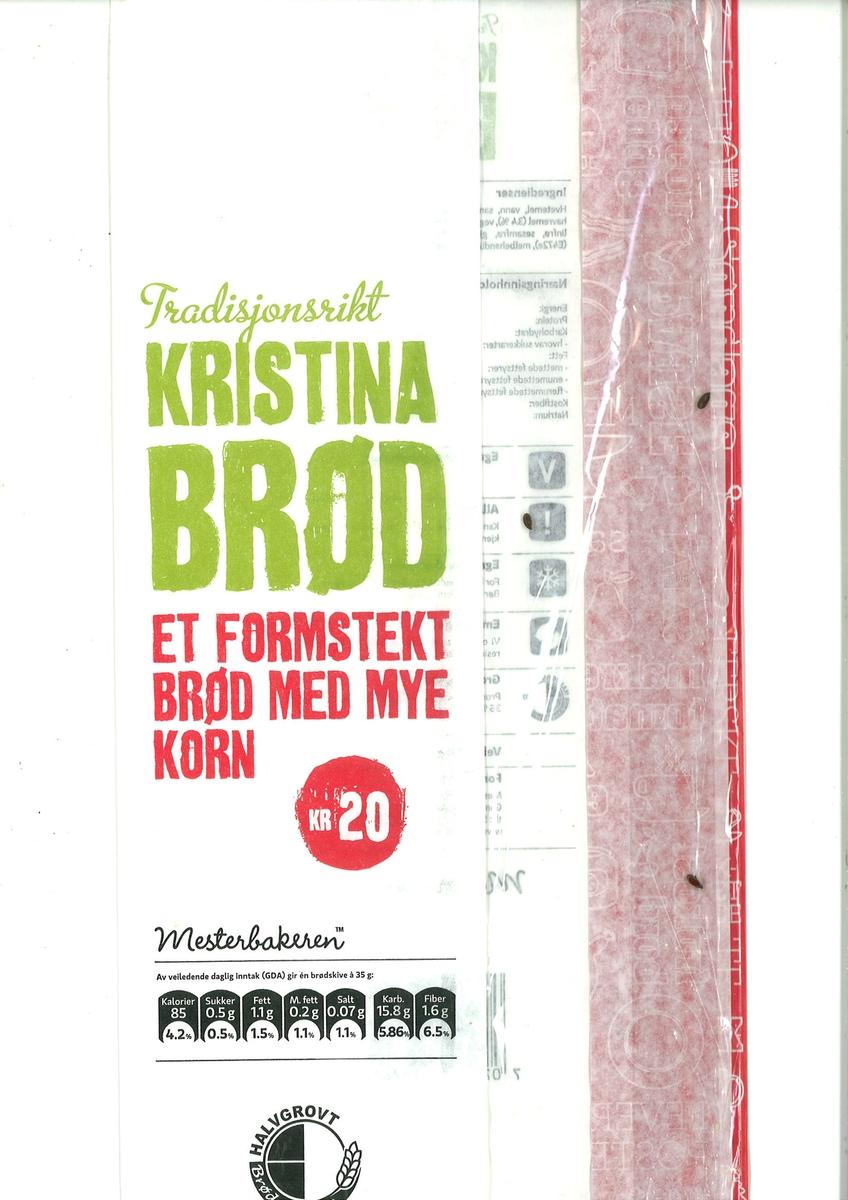 Det er intet motiv på brødposen. Brødets navn Tradisjonsrikt Kristina Brød finnes på brødposens forside.