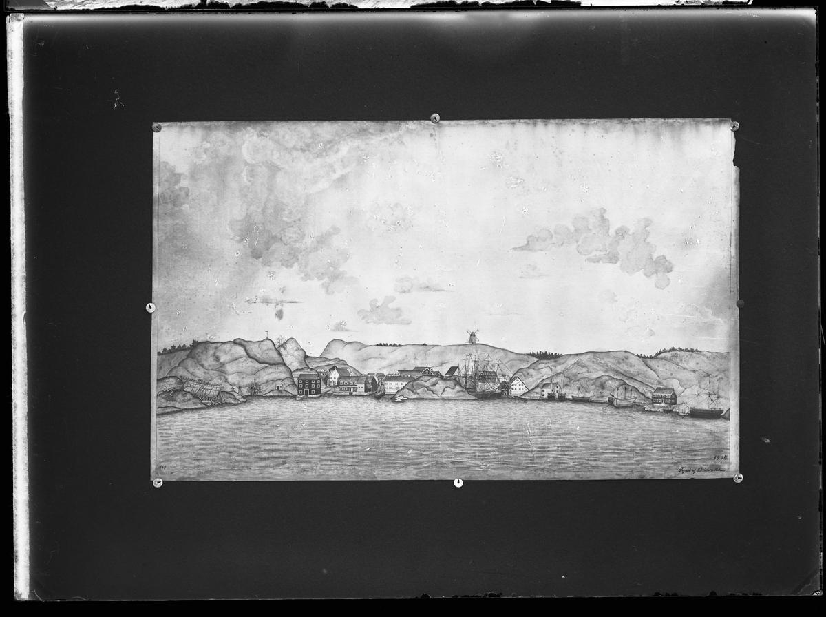Tegning av Grimstad havn (mot byen)