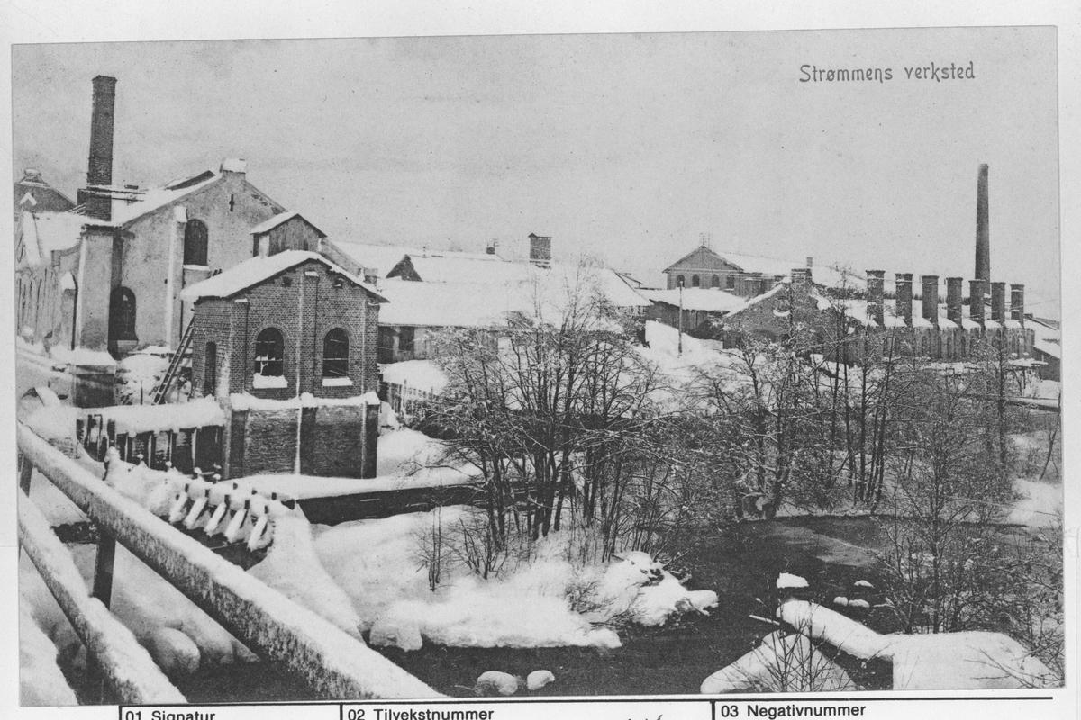 Strømmens Værksted og Sagelva fra østsida