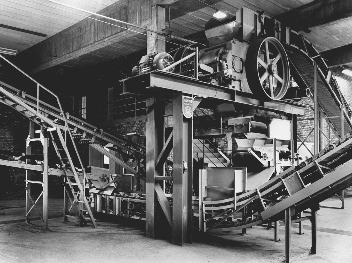 Teglstein, produksjonsområde med maskiner og samlebånd.