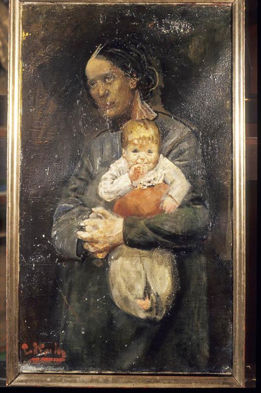 Maleri av Chr. Krohg.Motiv Oda Krohg med barnet.