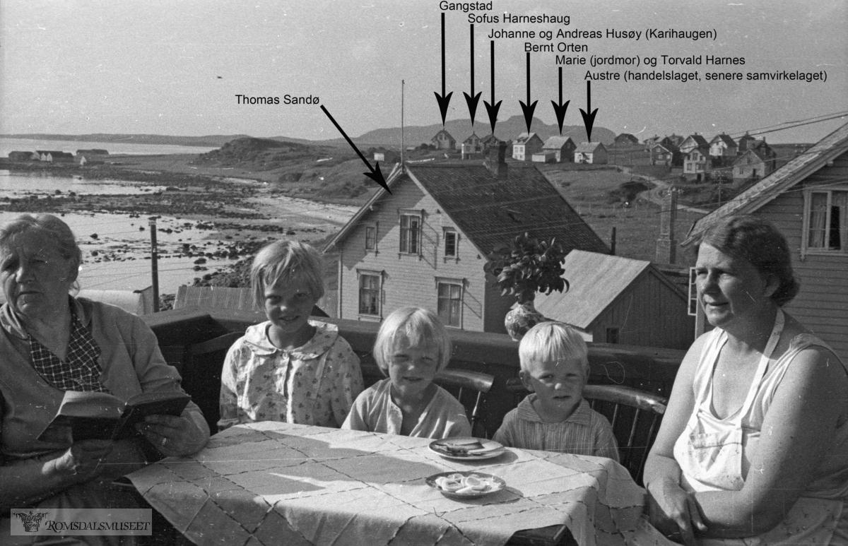 På verandaen på Bergtun..I bakgrunnen ser vi f.v husene til Thomas Sandø, Gangstad, Sofus Harneshaug, Johanne og Andreas Husøy (Karihaugen), Bernt Orten, Marie (jordmor) og Torvald Harnes, Austre (handelslaget, senere samvirkelaget).(Filmbeholder 58567a)