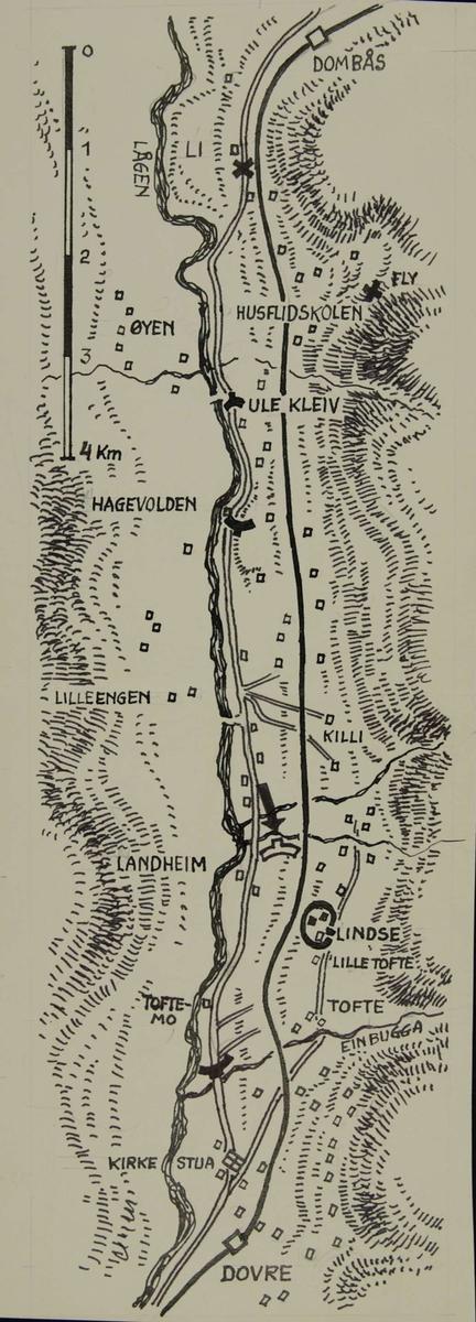 kart over dombås Kart over traktene ved Dombås.   Forsvarets museer / DigitaltMuseum kart over dombås