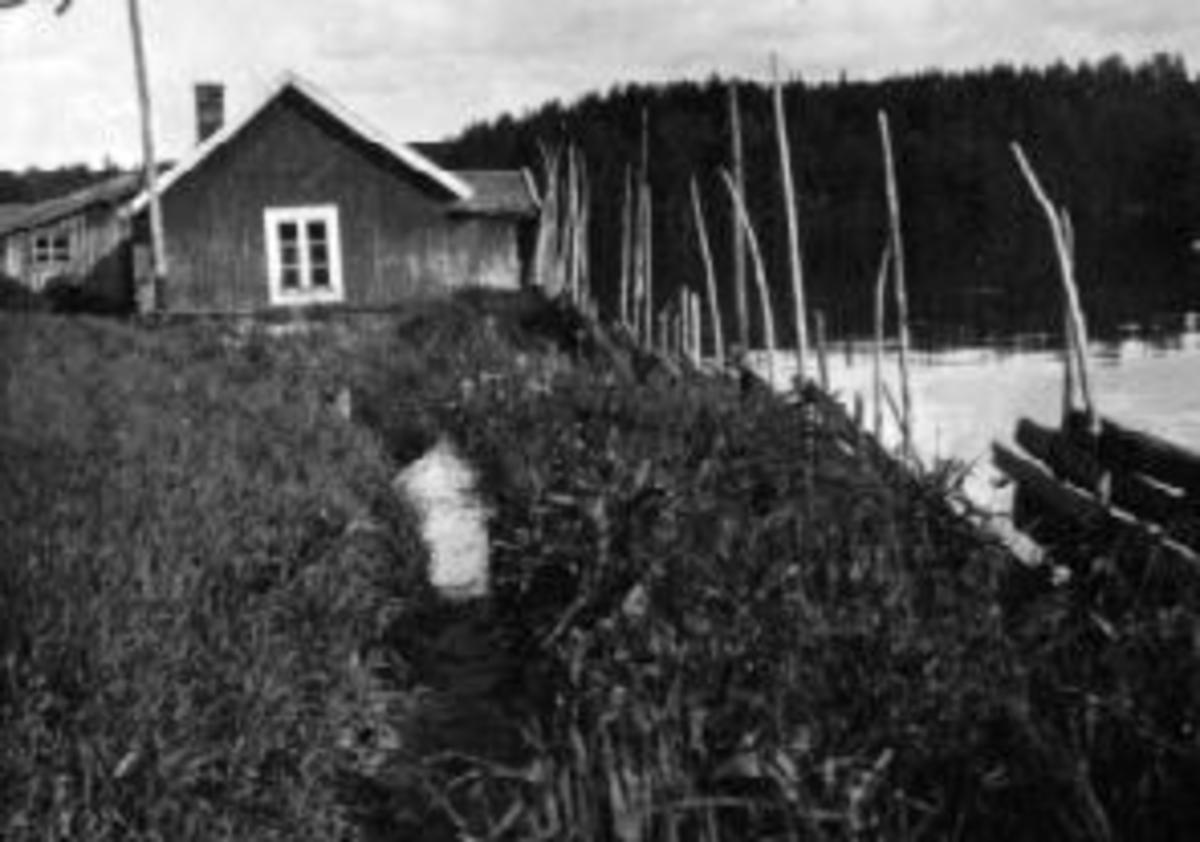 Strandbakken, Moelv ved flommen i Mjøsa. 1927.