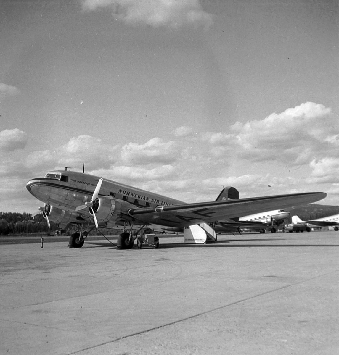 Fornebu Lufthavn med DNL sin DC-3 LN-IAF