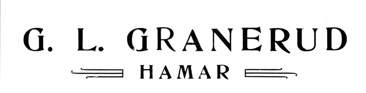Gammel reklameplakat for G. L. Granerud i Hamar.