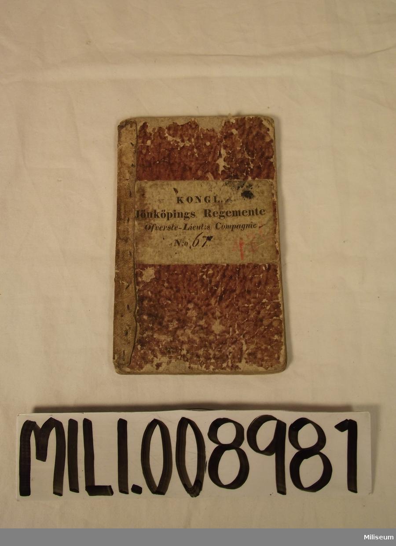 """Likvidationsbok N:o 67 """"Kongl. Jönköpings Regemente Öfverste-Lieut:s Compagnie N:o 67"""""""