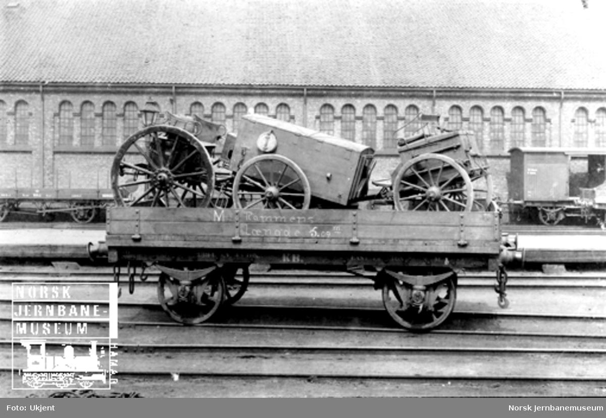 Kongsvingerbanens vogn litra M nr. 2394 lastet med artillerimateriell; håndverkervogn og forstil. Litra G og N i bakgrunnen