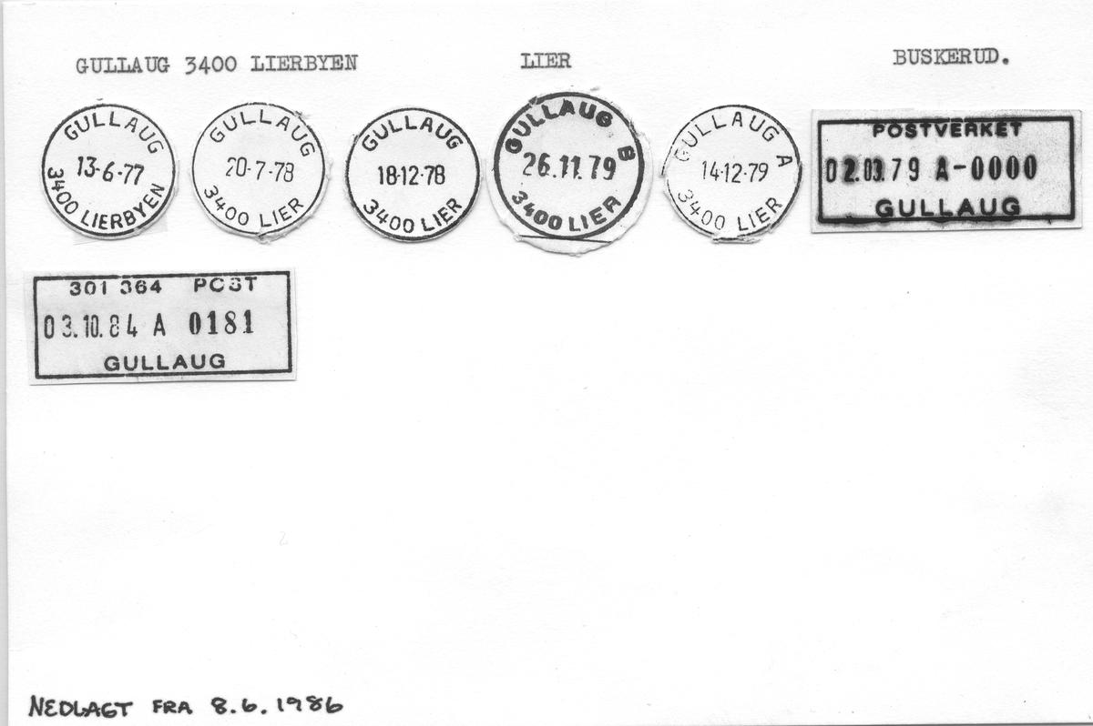 Stempelkatalog Gullaug 3400 Lierbyen, Lier, Buskerud