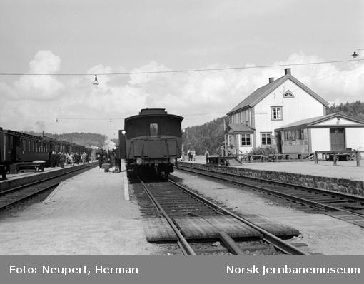 Persontog og reisende på Neslandsvatn stasjon