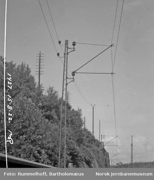Drammenbanens elektrifisering : kontaktledningsstolper : ledning i fjellterreng