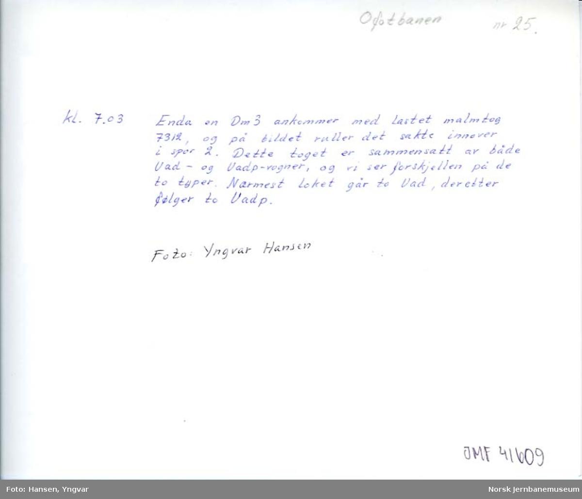 Bjørnfjell stasjon 18. juni 1980, om morgenen : kl. 07.03: malmtog 7312 ankommer