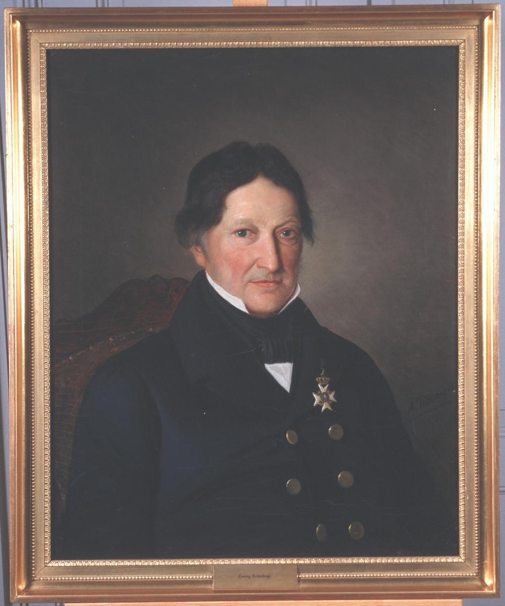 Portrett av professor Georg Sverdrup. Mørk drakt og hvit skjorte, mørkt halsbind. Orden festet på brystet.