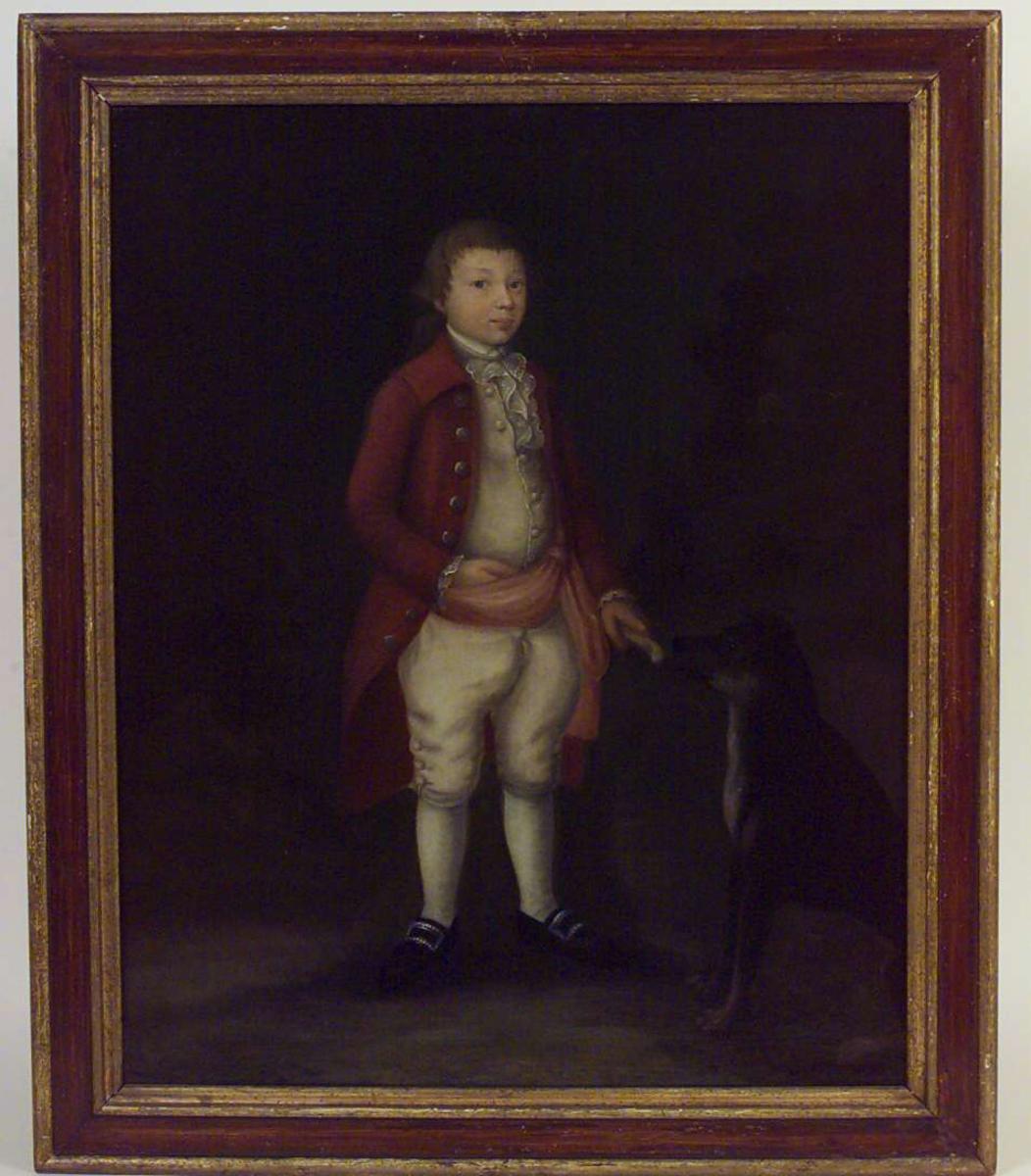 Barneportrett av Kield Hansen i 1700-tallsdrakt.